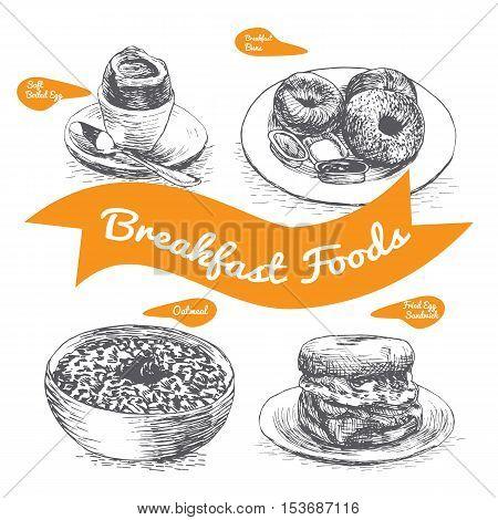 Illustration of various sorts breakfast foods. Monochrome illustration of breakfast foods.
