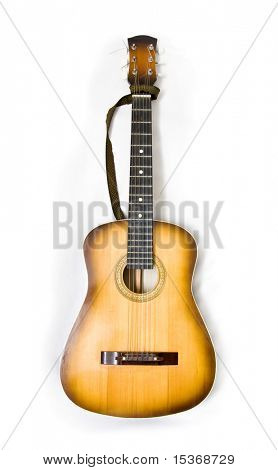 Classic guitar on white background.