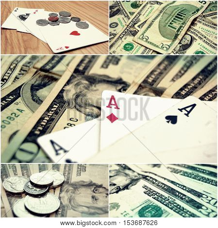 Money and Poker Stock Photo Collage, online casino games concept.