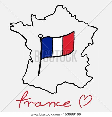 France Map And Flag