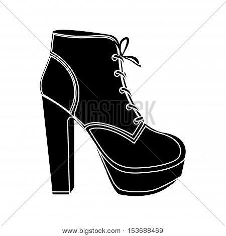 high heel boot shoe icon image vector illustration design