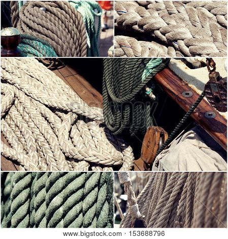 Sail boating concept. Sailing boat ropes collage set of images toned, vintage color.