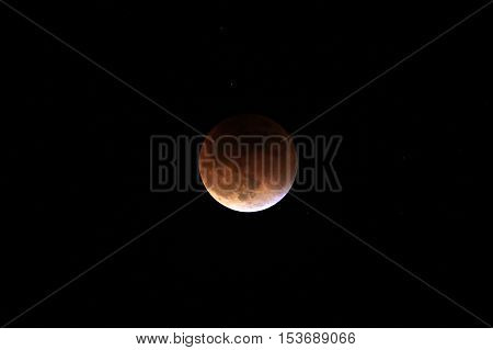 Partial after total lunar eclipse 2015, also known as blood moon, photographed sep 27th, 8-11 pm, in the mountains of Colombia at 3'560 mabsl, national park Cocuy.
