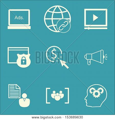 Set Of Marketing Icons On Video Player, Security And Digital Media Topics. Editable Vector Illustrat