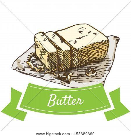 Butter colorful illustration. Vector illustration of breakfast.