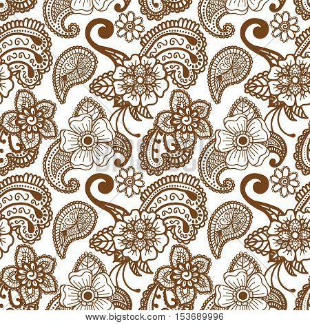 Paisley mehndi seamless violet pattern. Vector illustration