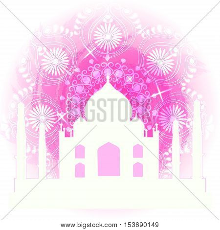 Watercolor design. With Taj Mahal palace, one of symbols of India. Easy for edit and use. Vector illustration.