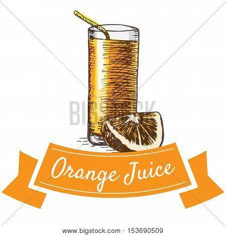 Orange juice colorful illustration. Vector illustration of breakfast.