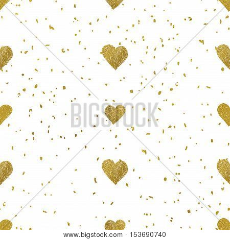 Gold glittering seamless pattern of hearts. Good for web, print and wrapping paper. Perfect for Valentines day design. Vector illustration