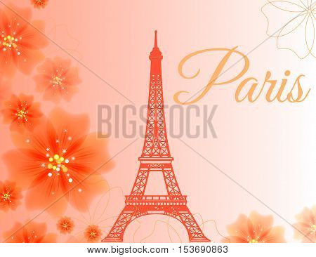 Paris Eiffel tower on a gentle pink background with flowers