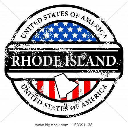 Grunge rubber stamp with name of Rhode Island, vector illustration