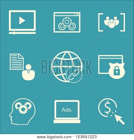 Set Of Advertising Icons On Digital Media, Questionnaire And Report Topics. Editable Vector Illustra
