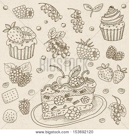 Set of chalk sketch hand drawn, in sketch style, food and spices, old paper textured background.  Set with desserts: cake, cupcake, berries, currants, cream. Hand drawn vector illustration.