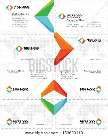 creative business cards with colored arrows, travel cards template, white background