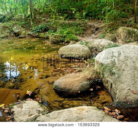 River in the jungles with green and yellow mountains Khao Sok National Park Surat Thani Province Thailand.