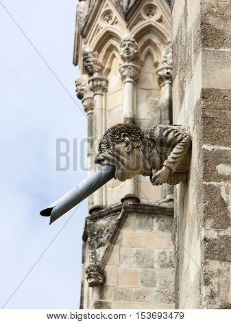 Modern gargoyle on south face of Chichester Cathedral, Chichester, West Sussex, England