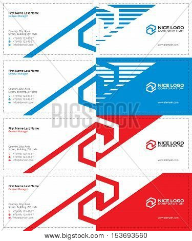 tech blue and red colors, business cards with the letter s