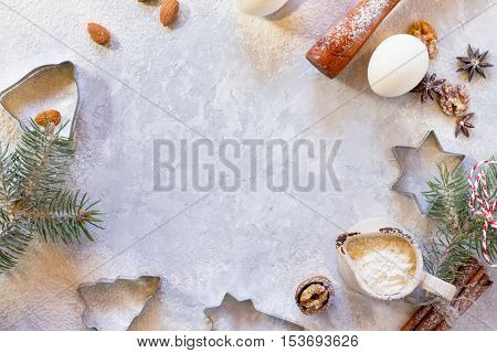 Ingredients For Christmas Baking - Spices, Flour, Egg, Powdered Sugar And Shape Cookie Cutters. Seas