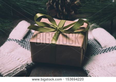 Christmass Gift Box And Mittens On Wooden Table Near Tree Branches