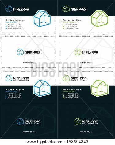 3d houses business cards, blue and green colors