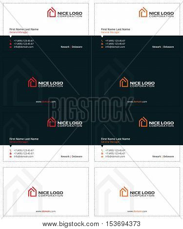 house business cards, red and orange colors, simple and modern template