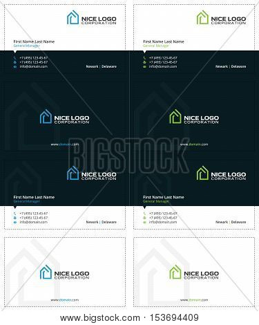 house business cards, blue and green colors, simple and modern template