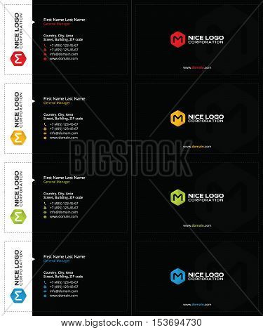 black business cards with colored boxes and radial gradients