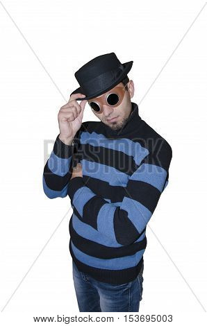Portrait of a steampunk in striped sweater on white background