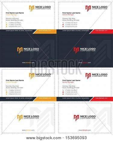 m and e letters business cards, dark blue, yellow and red colors