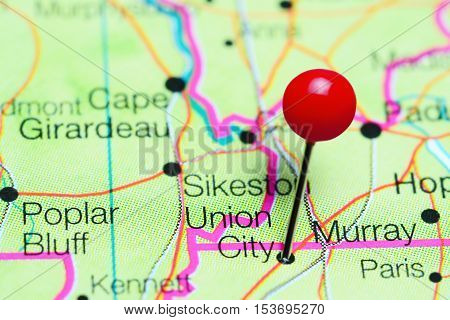 Union City pinned on a map of Tennessee, USA