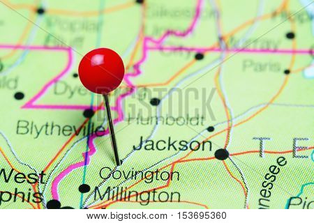Covington pinned on a map of Tennessee, USA