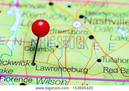 Lawrenceburg pinned on a map of Tennessee, USA