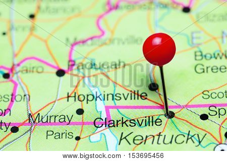 Clarksville pinned on a map of Tennessee, USA