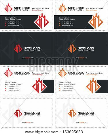 defender business cards, gray red and orange colors
