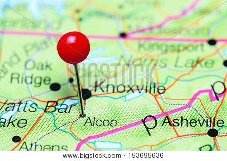 Alcoa pinned on a map of Tennessee, USA