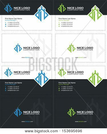 defender business cards, gray blue and green colors