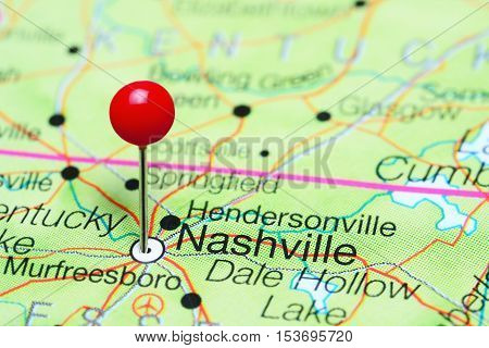 Nashville pinned on a map of Tennessee, USA