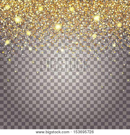 Effect of flying parts gold glitter luxury rich design background. Light gray background for effect. Stardust spark the explosion on a transparent background. Luxury golden texture.