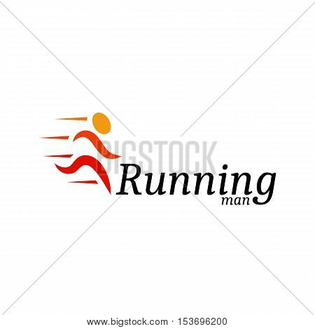 Isolated abstract orange color running man logo. Human silhouette in motion logotype. Sport icon. Fitness sign. Jogging people symbol. Vector running man illustration