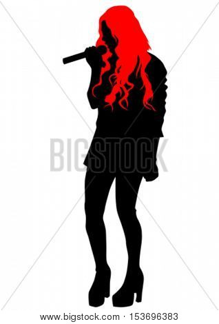 Beauty girl singing with a microphone on white background