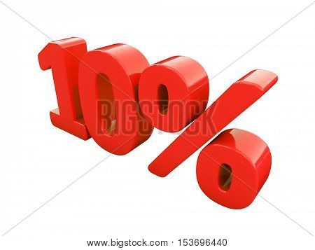 3d Render: Isolated 10 Percent Sign on White Background