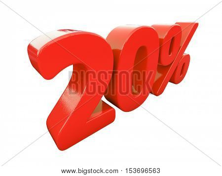 3d Render: Isolated 20 Percent Sign on White Background