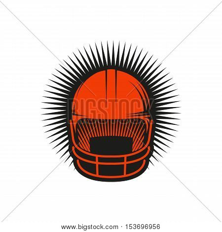 Isolated abstract red color baseball helmet logo on white background. Professional sport equipment logotype. Head protection icon. Safety element sign. Vector baseball helmet illustration