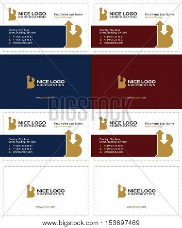 letter B with arrows up and down business cards, gold, dark blue and dark red colors