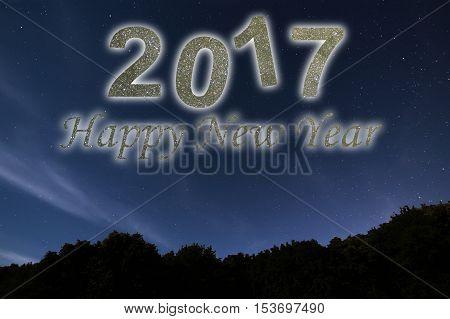 Happy New Year 2017. Happy New Year Background. Night Sky.