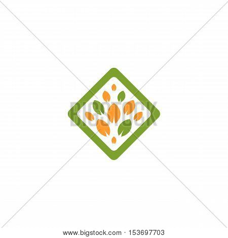 Isolated abstract green and orange color rhombus shape tree logo. Leaf logotype. Natural cosmetics icon. Eco system element. Organic products sign. Healthcare emblem. Vector leaf illustration