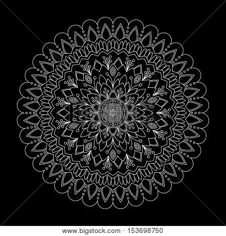 Floral mandala on black background, vector illustration