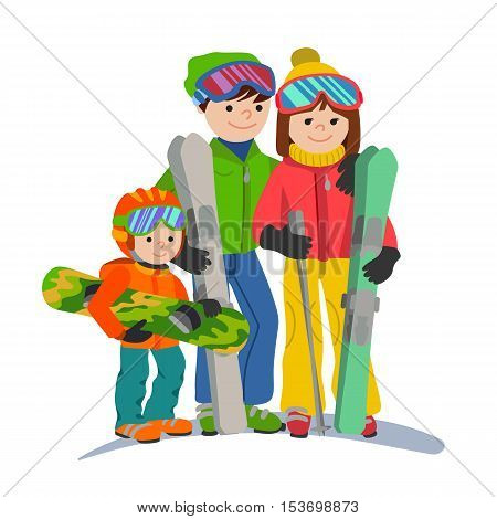 Illustration couple parents and child winter sport. Family vacations in the mountains.