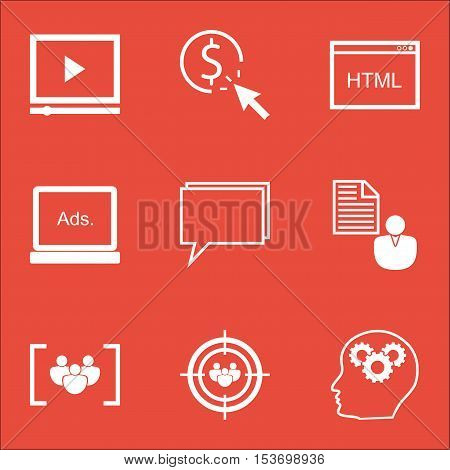 Set Of Marketing Icons On Ppc, Digital Media And Video Player Topics. Editable Vector Illustration.