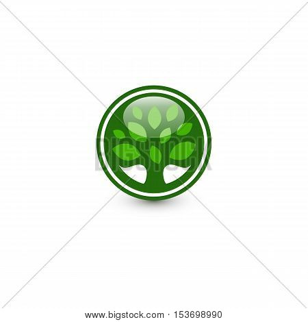 Isolated abstract green color round shape tree logo. Leaf logotype. Natural cosmetics icon. Eco system element. Organic products sign. Healthcare emblem. Vector leaf illustration